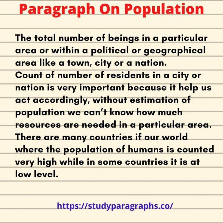 Short Paragraph on population explosion