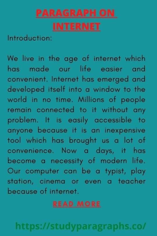 Advantage of internet Paragraph