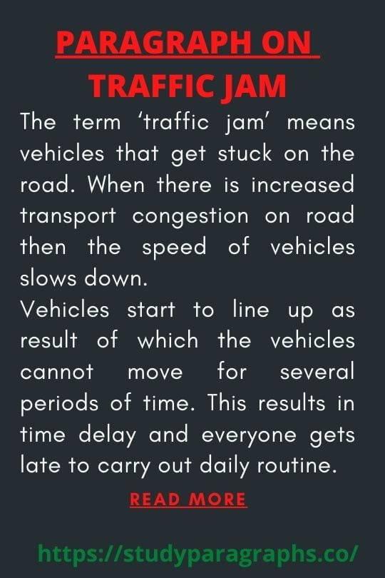 Short paragraph on traffic jam