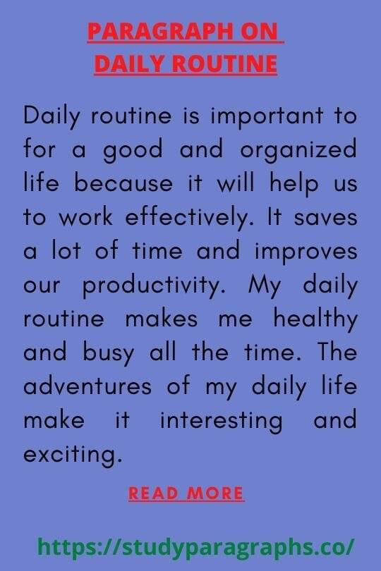 My daily routine Paragraph