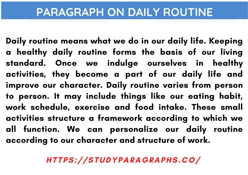 Daily life routine Paragraph