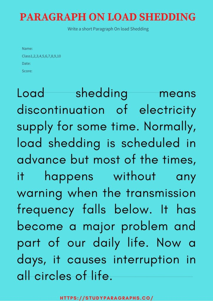 Essay on load Shedding
