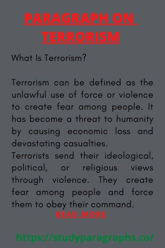 Short paragraph on Terrorism