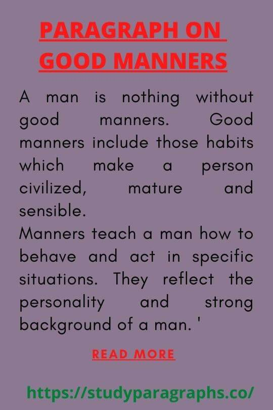 Good manners Paragraph