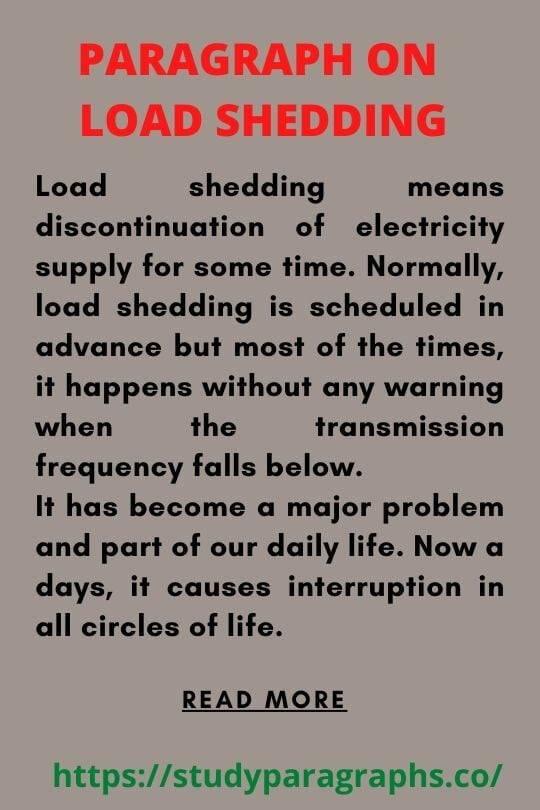 Short paragraph on load shedding