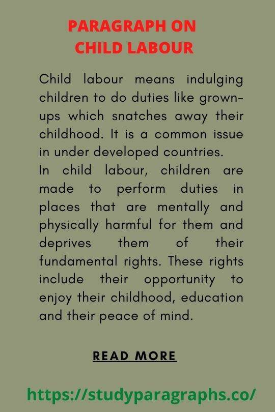 Short paragraph on child Labour