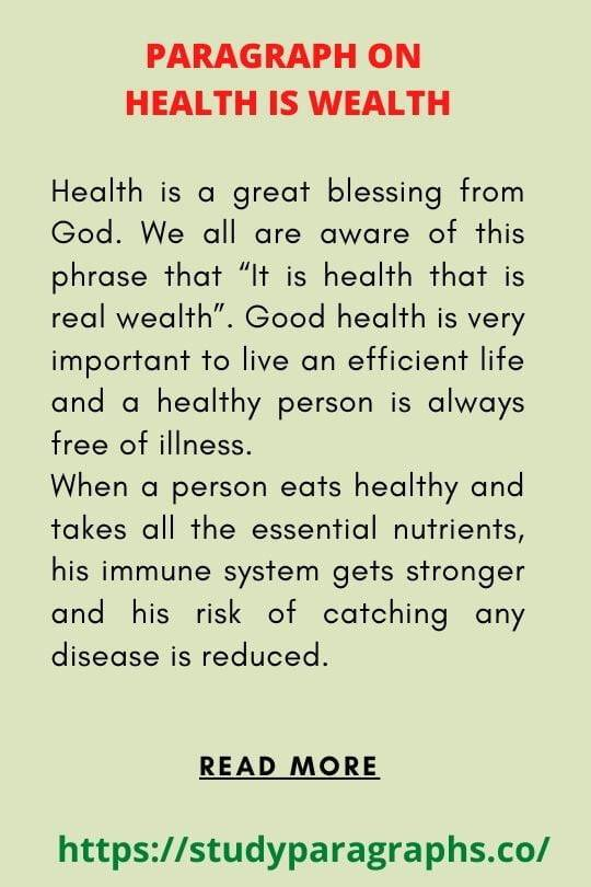health is wealth paragraph
