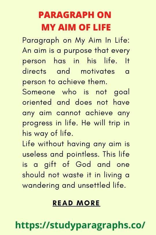 Short paragraph on my aim of life