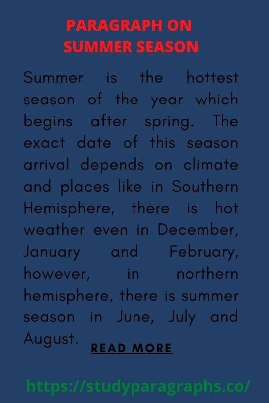 Paragraph On My favorite season summer