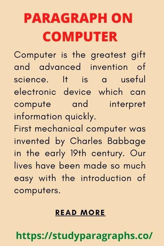 Short paragraph on computer