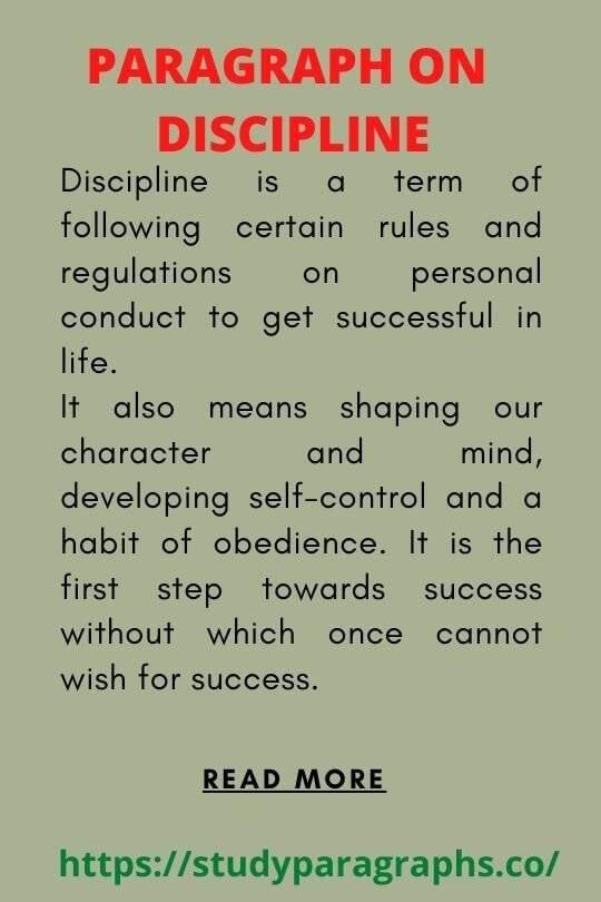 Discipline Paragraph for Student