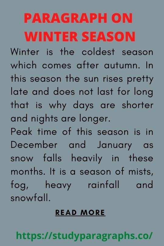 Short paragraph on winter season