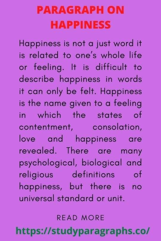 Paragraph On Happiness of life