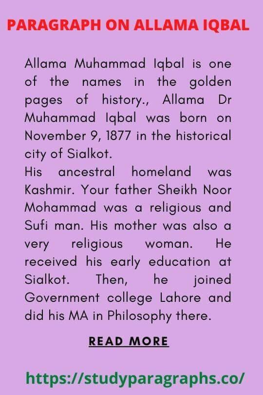Poet of east Allama Muhammad Iqbal Paragraph