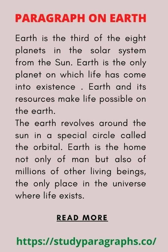 Paragraph On save earth save life