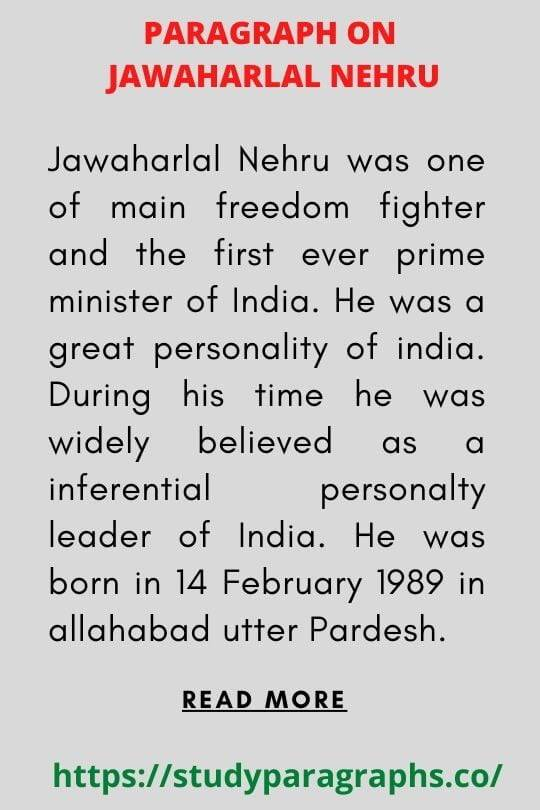 Jawaharlal chacha Nehru Paragraph