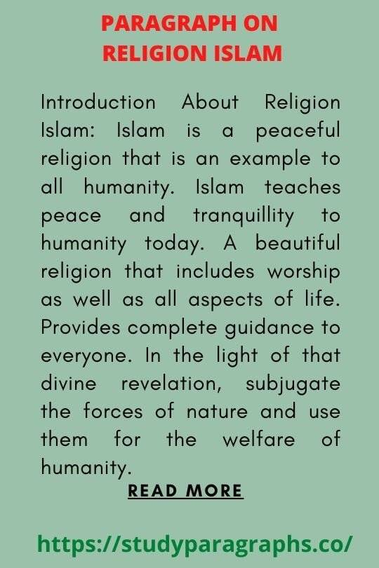 The religion Islam Paragraph