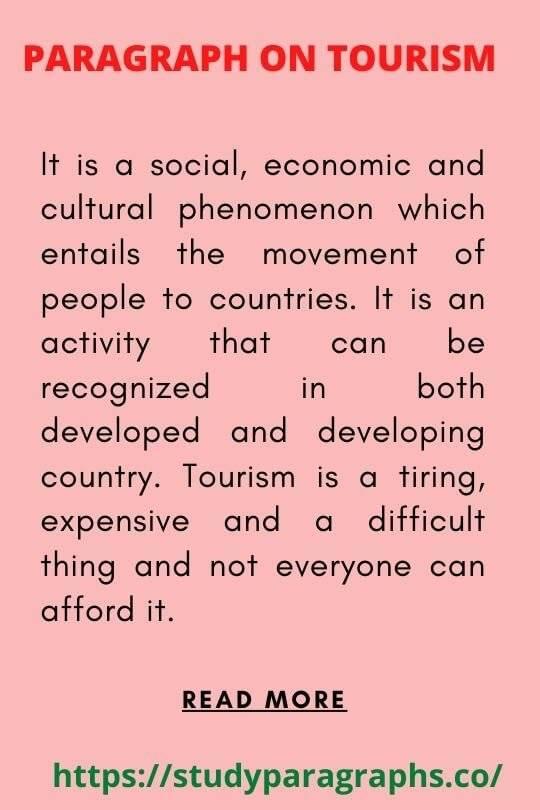 Importance of tourism Paragraph