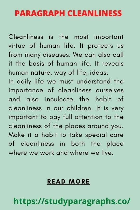 Importance of cleanliness Paragraph