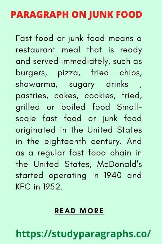 Paragraph On fast food