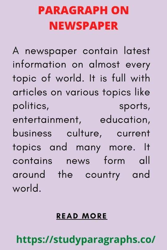 Write a paragraph On Importance of newspaper