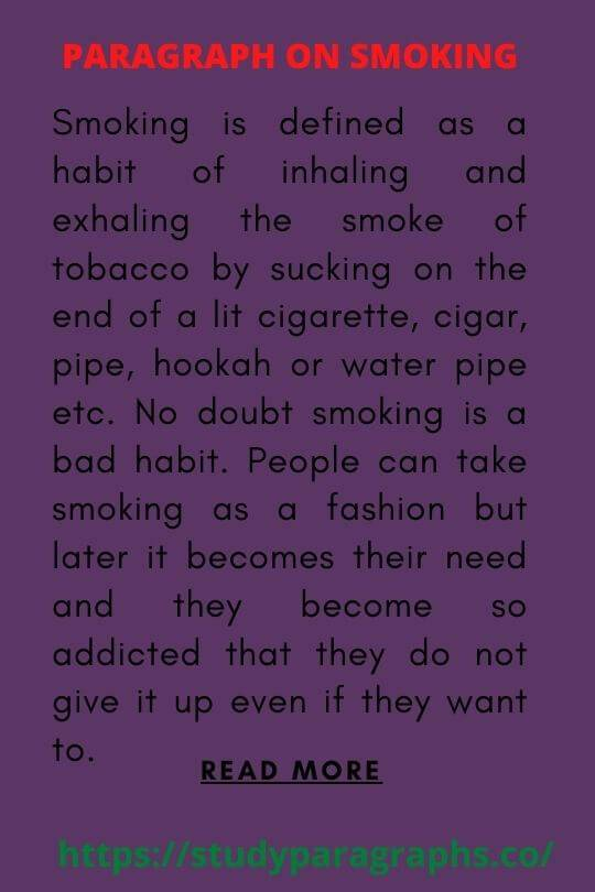 Paragraph about smoking