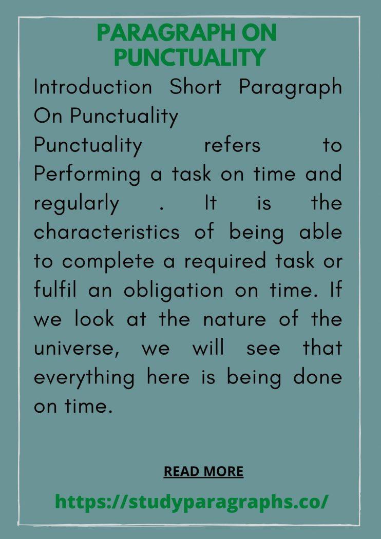 short ten lines essay paragraph about punctuality
