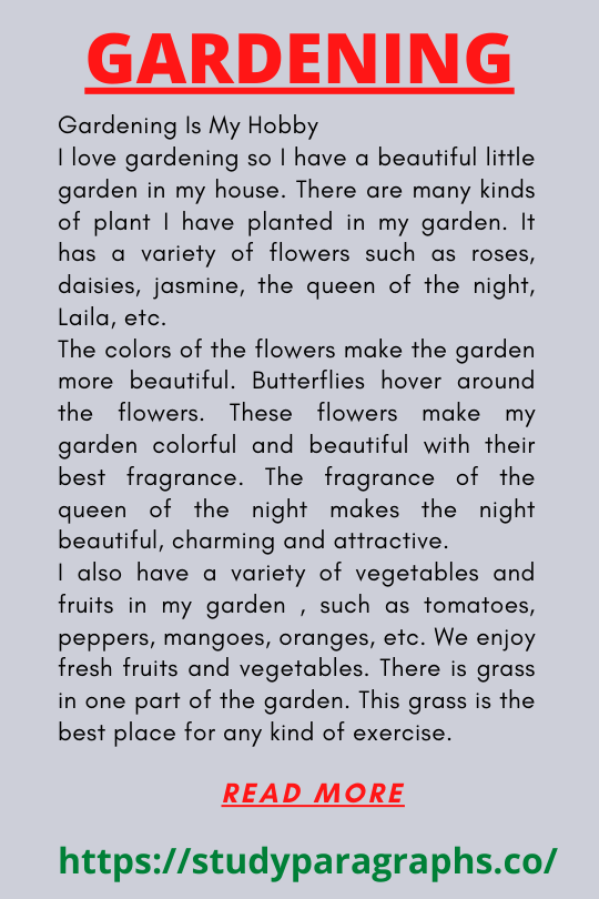 Paragraph about Gardening