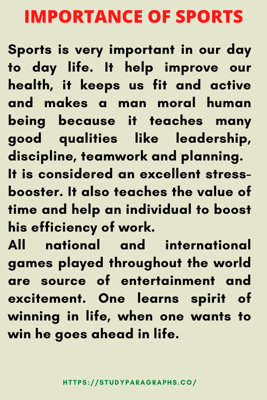 Paragraph on importance of sports