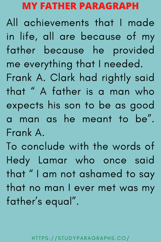 Paragraph about my father
