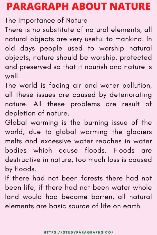 Nature paragraph writing