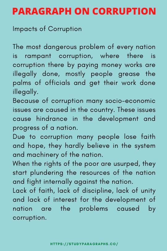 Short paragraph about corruption