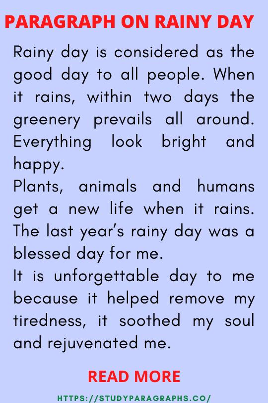 Paragraph on rainy season