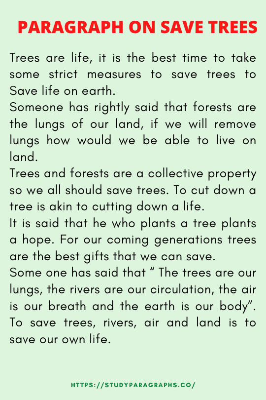 Save trees save earth paragraph