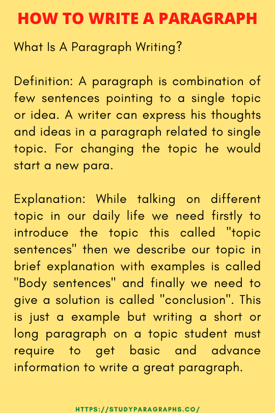 Writing a paragraph guide
