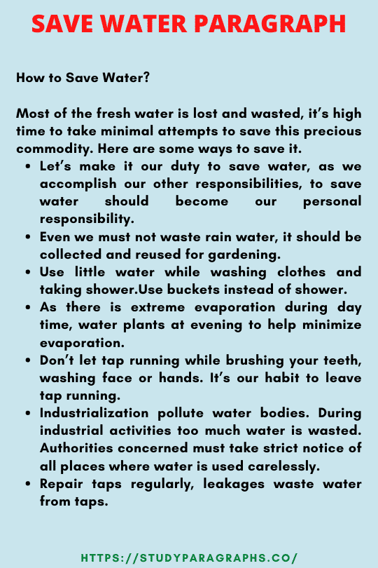 Save water save life paragraph