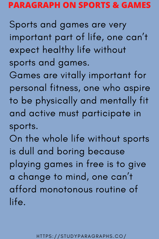 Paragraph on sports and games