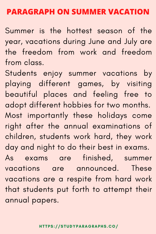 Paragraph on summer vacation