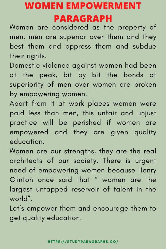 Paragraph about women empowerment