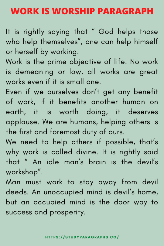 Paragraph about work is worship