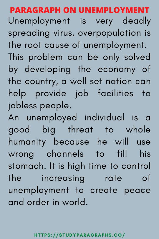 Paragraph On unemployment